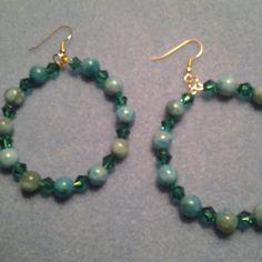 Turquoise Hoop Beaded Earrings by LoveHandmade33 on Etsy, $10.00