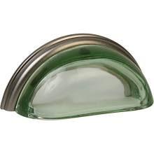 Lew's Hardware Glass Bin Pulls, Transparent Green/Brushed Nickel | Cabinet Pulls | 22-101