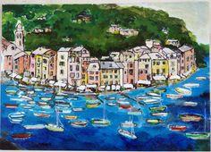 Portofino. Painting  of Piero Petillo
