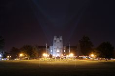 2014.10.07. Search lights in front of Burruss Hall on the eve of the Class of 2016 Ring Premiere.