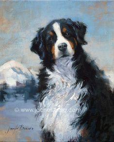 Bernese Mountain Dog Pet Portrait Giclée Fine Art by JacheStudio