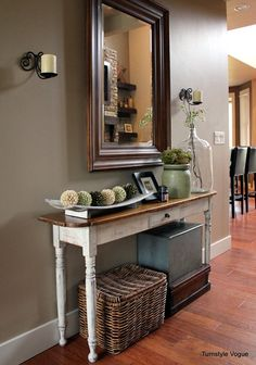 small entryway table ideas wonderful decorating opportunities that shouldn't be ignored See more ideas about Entry table decorations, Entrance table and Entrance table decor Farmhouse Style, Hallw Entrance Table Decor, Entry Tables, Table Decorations, Console Tables, Hall Tables, Hall Way Decor, Sofa Table Decor, Ikea Table, Table Mirror