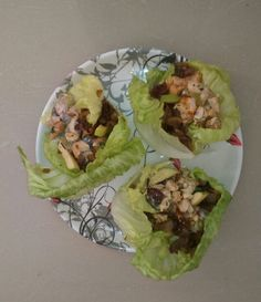 Chicken n orange,  🍇 salad with fried onion n blueberry 🍍 creame filled in fresh lettuce leaves.