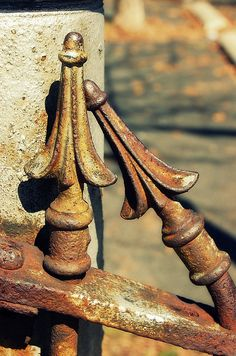 I love you so much I could bend IRON to be near you.to lean on you. Old Gates, Rust In Peace, Rusted Metal, Peeling Paint, Iron Art, Architectural Salvage, Wabi Sabi, Textures Patterns, Wrought Iron