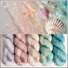 SEASHELL HUES YARN KIT - the dreamiest of combinations inspired by the soothing, pulsing, cleansing, empowering ocean - aqua blues and greens, pale shell pinks and rose and a calming silvery gray.