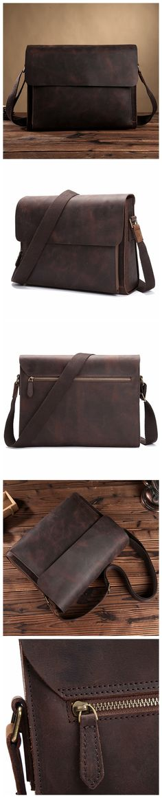ROCKCOW Leather Full Flap Messenger Handmade Bag Laptop Bag Satchel Bag Padded Messenger Bag School Bag 8009