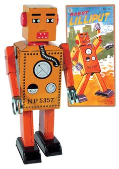 1932 - The first true robot toy was produced in Japan. The 'Lilliput' was a wind-up toy which walked. It was made from tinplate and stood just 15cm tall.