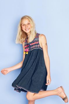 Buy Pom Pom Embroidered Dress (3-16yrs) from the Next UK online shop