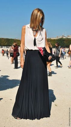 From The Shoes Up: pleated skirts and tassel necklaces