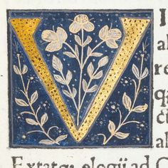 "Decorated initial ""V"" in Scriptores historiae Augustae by University of Glasgow Library, via Flickr"