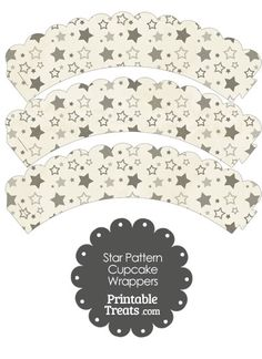Vintage Grey Star Pattern Scalloped Cupcake Wrappers from PrintableTreats.com