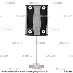 """Mod Accent"" Blk & White Dasies Table Lamp"