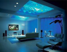 Let's go to bed and count the fishes as we fall asleep... Fish tank above! -- for more luxury homes, visit http://www.pinterest.com/davidos193/dream-homes/
