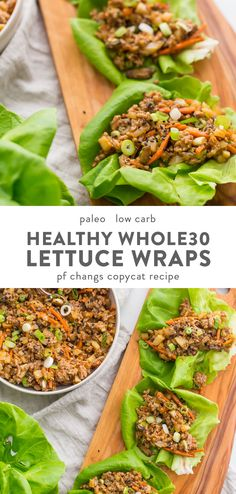 These healthy lettuce wraps are inspired by the PF Changs recipe but are totally compliant and paleo. Loaded with flavor and with lots of veggies, these healthy Asian lettuce wraps are made with pork or chicken and are a great, easy dinner Whole30 Dinner Recipes, Asian Dinner Recipes, Paleo Dinner, Diet Recipes, Healthy Recipes, Copycat Recipes, Pf Changs Lettuce Wraps, Asian Lettuce Wraps, Lettuce Wrap Recipes