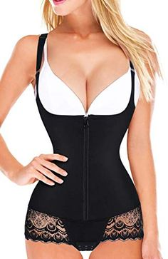 DODOING Waist Training Underbust Corset 6 Hooks Slimming Tummy Control Tank Shapewear Vest for Women
