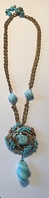 Rare-Miriam-Haskell-Signed-Pendant-Necklace-Light-Blue-amp-Foliage