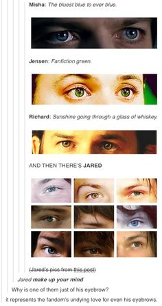 The bluest blue to ever blue. Fanfiction green. Sunshine going through a glass of whiskey. And then there's Jared.