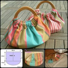 diy bag DIY of making your own gorgeous wooden handle bag. It could be used for a variety of purposes, such as a carryall for small items or as a summer bag. Wooden Handle Bag, Wooden Handles, Wooden Bag, Diy Bags No Sew, Diy Bags Purses, Diy Bags Jeans, Purses Boho, Coin Purses, Diy Handbag