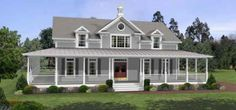 My dream home - wrap around porch, double front door, wide front steps, southern style farm house. This is what I've wanted since I was a child.