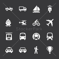 Transportation Icons - White Series   EPS10   Vector   StockerPark