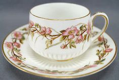 George Jones Hand Colored Pink Wild Roses Tea Cup & Saucer C. 1874 - 1891