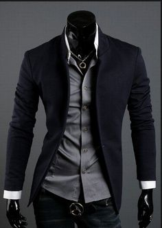 2012 Free shipping Men's Brand Blazer Suit Stylish Premium Casual Jacket High Quality Fit style one button Black Grey Navy M XXL-in Blazers from Apparel & Accessories on Aliexpress.com