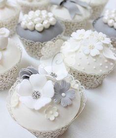 white and gray elegant wedding cupcakes