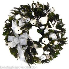 Seaside Christmas Wreath Collection Seashell Christmas Wreath Beach Shore | eBay