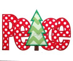 peace with christmas tree christmas applique designs 3 sizes 400 via etsy - Christmas Applique Designs
