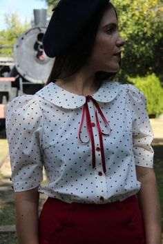 Vintage blouse leg of mutton sleeve blouse retro inspired Peter Pan collar cotton blouse vintage inspired polka dots Mamie Boutons