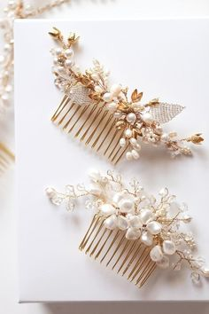 Gold bridal hair combs