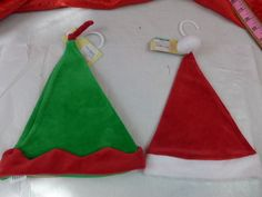 Infant Christmas Santa Or Elf Hat Soft Stretchy Red & White Or Green & Red New #Cherokee