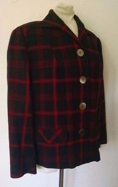 Vtg Pendleton Wool 49er Jacket Womens M Red Black Tartan Plaid Blazer #Pendleton #BasicJacket