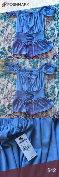 Sexy Off The Shoulder Top NWT. Super cute and sexy top. Gorgeous periwinkle color. Express Tops