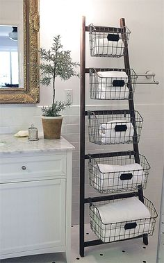 Wood Ladder with 5 Wire Baskets - Ideas 2020 Retro Furniture, Ikea Furniture, Handmade Furniture, Bathroom Furniture, Furniture Making, Furniture Ideas, Furniture Dolly, Furniture Outlet, Furniture Stores