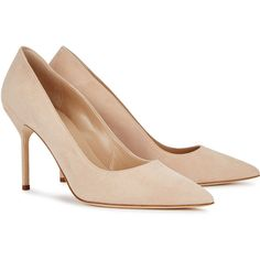 Manolo Blahnik BB 90 Light Sand Suede Pumps - Size 3 (38.045 RUB) ❤ liked on Polyvore featuring shoes, pumps, manolo blahnik pumps, high heel shoes, pointed toe high heel pumps, pointy-toe pumps and high heel pumps