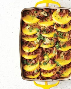 Baked Polenta with Sausage and Artichoke Hearts - so delicious! Made polenta and just layered scoops of it with the meat mixture. Also, as I didn't have all the ingredients on hand, I used potatoes instead of artichoke hearts and one pound of ground turkey with seasoning. Delicious, allergy friendly dish!
