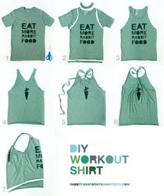 DIY Workout-top. So easy and a great way to re-use all those old t-shirts.