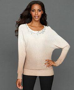 INC International Concepts Sweater, Dolman-Sleeve Rhinestone Dip-Dye