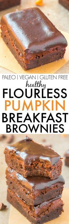 Healthy Flourless Pumpkin BREAKFAST BROWNIES- Just FOUR Ingredients and one bowl (or one blender!) needed to make these super fudgy, rich, moist and gooey brownies designed specifically for breakfast- Grain free, sugar free and packed with protein! {vegan, gluten free, paleo recipe}
