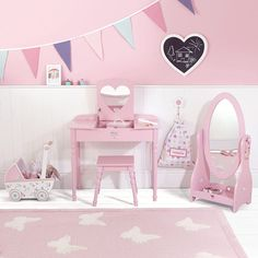 Sweetheart Mirror - Pink - Dress Up - Create The Look Little Girls Dressing Table, Kids Dressing Table, Pink Dressing Tables, Big Girl Bedrooms, Little Girl Rooms, Girls Bedroom, Bedroom Ideas, Girl Decor, Baby Room Decor