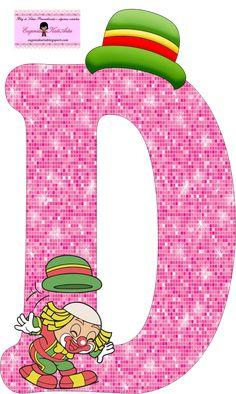 EUGENIA - KATIA ARTES - BLOG DE LETRAS PERSONALIZADAS E ALGUMAS COISINHAS: Alfabeto Patati e Patata Rosa School Frame, Send In The Clowns, Clowning Around, Letters And Numbers, Letter Board, Character Design, Happy Birthday, Symbols, Lettering