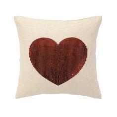 Peking Handicraft 24LFH358 Sequin Down-filled Heart Pillow | ATG Stores