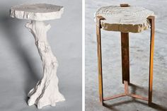 A table (left) with a branch-form base. A steel-and-plaster table from his new Faux Bois collection, available through David Sutherland Showroom.