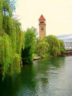 A view of the Spokane Clock Tower from the Centennial trail - downtown Spokane, WA - along the Spokane River