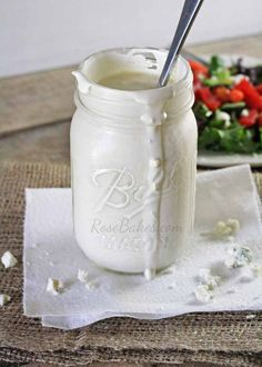 crumbled blue cheese dashes of Worcestershire sauce 1 tablespoon white wine vinegar salt and pepper to taste cup buttermilk (more or less depending on how thin you like your dressing Blue Cheese Salad, Blue Cheese Dressing, Homemade Dressing, Dressing Recipe, Blue Cheese Recipes, How To Make Cheese, Soup And Salad, Sour Cream, Food Inspiration