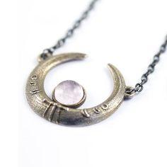 Rose Quartz Crescent Moon Steel Necklace | Custom Plugs - Best Ear Gauges, Flesh Tunnels For Stretched Ears