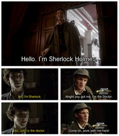 What's that sound? That, my friends, is the sound of WIN... I find this funny because Matt Smith actually read for the part of Watson I feel like he's just wanting to be a part of things. Poor Matt. Hahaha (: