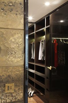 Gold tiles outside the Dressing Room - Canary Wharf Apartment , London Luxury Interior, Interior Architecture, Interior Design, Wardrobe Closet, Closet Space, Dressing Room Design, Dressing Rooms, Morrocan Theme, Joinery Details