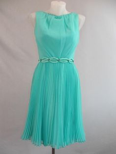 Vintage 1960's aqua chiffon dress